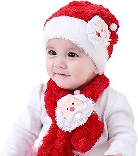 Ensemble chapeau de Noël écharpe, Yansion enfant corail velours élastique bonnets rouges chapeau avec motif de père Noël confortable robe de Noël chaude et sans goût Up cadeaux de Noël pour 1-4 filles