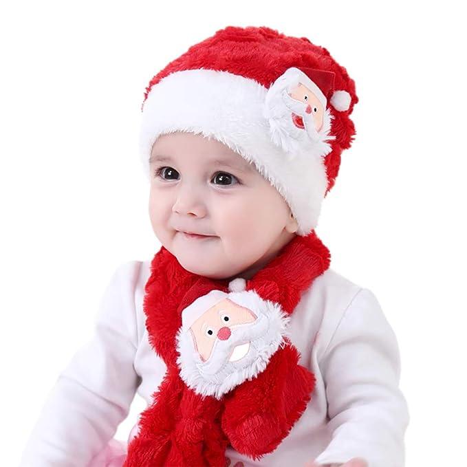 2e72953a5 Yansion Conjunto de Bufanda de Sombrero de Navidad, Child Coral Terciopelo  Gorro de Gorrita Tejida