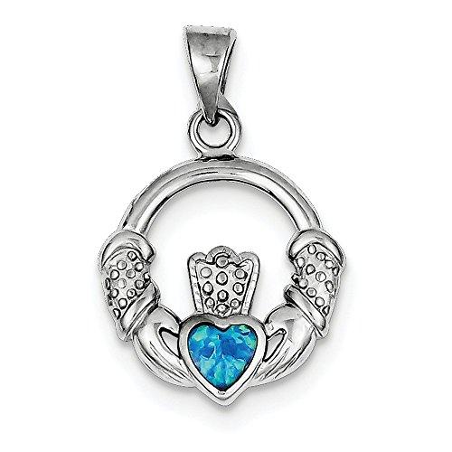 (Diamond2Deal 925 Sterling Silver Blue Inlay Created Opal Irish Claddagh Pendant)