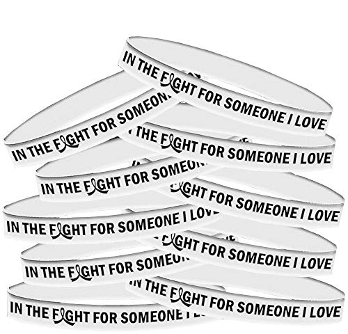 in The Fight for Someone I Love Lung Cancer, Mesothelioma, Bone Cancer, Lung Disease Wristband Bracelet 10-Pack (Pearl/White) -