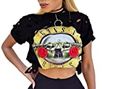 FISACE Women's Short Sleeve Ripped Guns N Rose Crop Tops offers