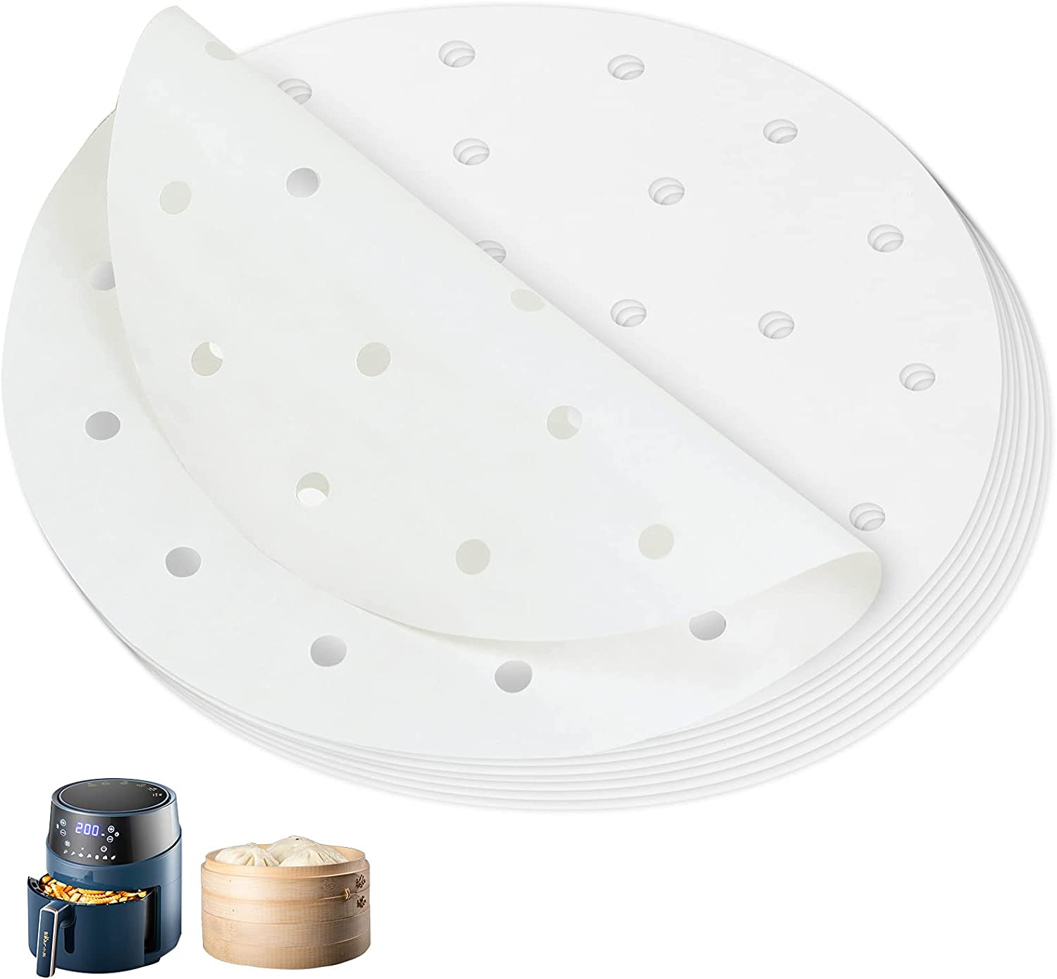 Air Fryer Liners(100pcs) ,Bamboo Steamer Paper,Premium Perforated Parchment Steaming Papers, Non-stick Steamer Mat, for Air Fryers/Baking/Cooking (6inch)