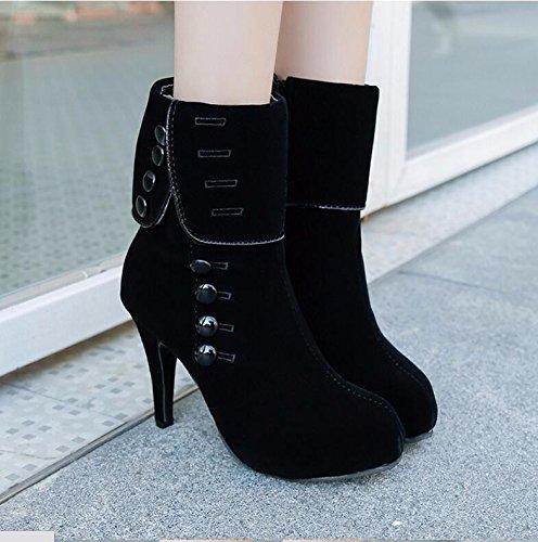 KHSKX-Black 10Cm Stylish Women High-Heeled Boots Round Head Fine With Martin Boots Xi Shi Velvet High-Heeled Boots Women'S Shoes Tide 40 pWrfhlH