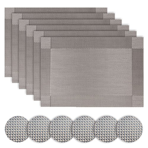 (Homcomoda Vinyl Placemats and Coasters Set of 6(Grey))