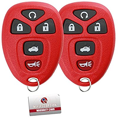 KeylessOption Keyless Entry Remote Control Car Key Fob Replacement for 15912860 -Red (Pack of 2): Automotive