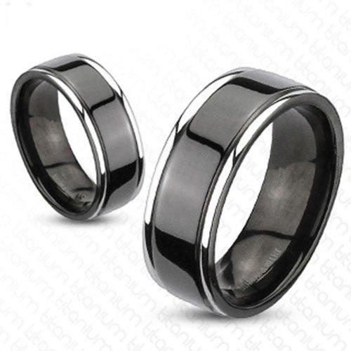 FlameReflection Black Titanium His & Hers Engagement Wedding Band Ring Sets Polished Ridge Edge