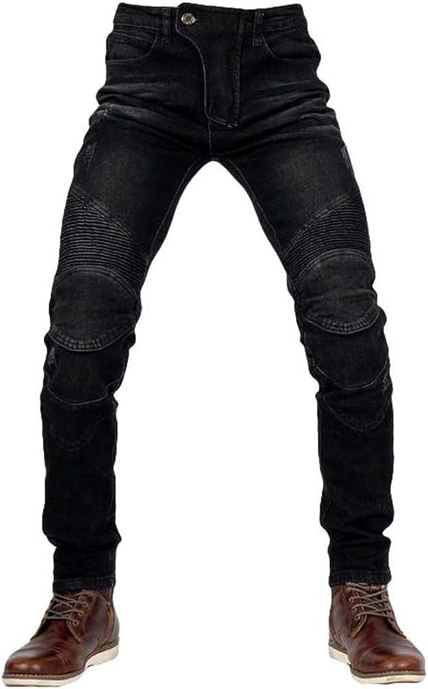 Yuanu Jeans Hombre Moto Vaqueros Biker Casual Retro Elegante Anti-CaíDa Pantalones De ProteccióN Pantalones De Mezclilla con 4 * Equipo De ProteccióN (Incluido En Los Pantalones)