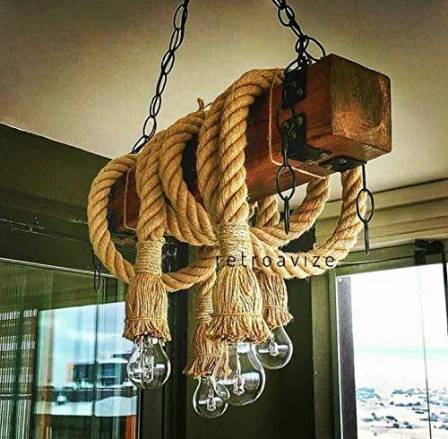 Rustic farm house decor pendant light fixture Interior decoration rustic hemp Rope chandelier marine rope lamp unique rope Pendant lamp