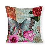 Flower Butterfly Pillow Covers Decorative for Teen Girl 22 x 22 Square Cushion Cover Home Decor