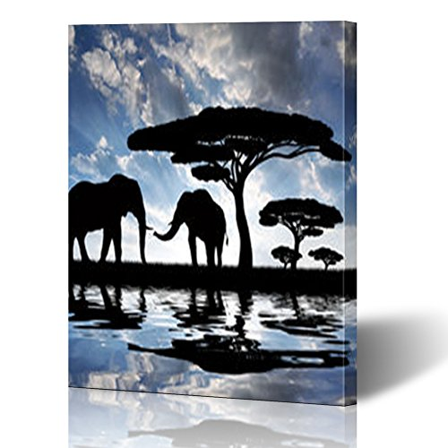 YeaSHARK Custom Canvas Prints Wall Art Silhouette Elephants Sunset Wildlife Elephant Nature 12x16 Inches Stretched Gallery Wrapped Home Decor Modern Artwork Painting