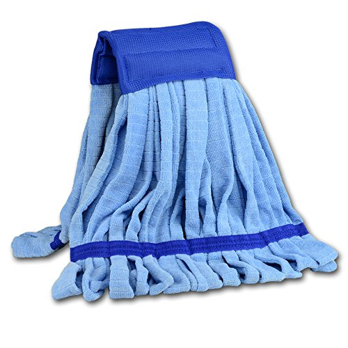 Microfiber Wet Mop Head Refill | More Light-weight Than Conventional Cotton String Mops | For Commercial And Industrial Use | Medium Size (Blue) Microfiber Lightweight Mop