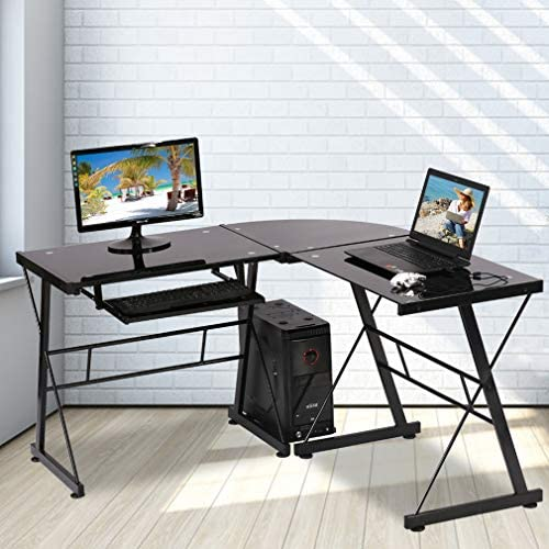 Best modern office desk: L Shaped Computer Desk Office Desk Gaming Writing Corner Desk Study PC Laptop Table Workstation