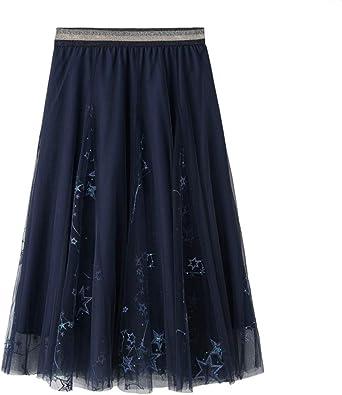 Finebo - Falda larga de tul con estrella bordada para mujer, falda ...