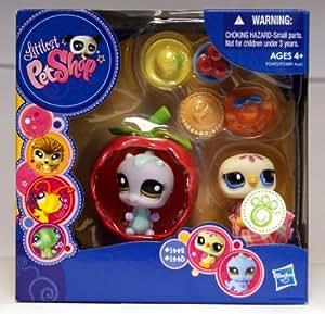 Littlest Pet Shop - Animales portátil - Set de Regalo Caja - 2Pack - Paloma # 1442 y # 1443 oruga - con la manzana con cáscara y Accesorios - [Importado de Alemania]