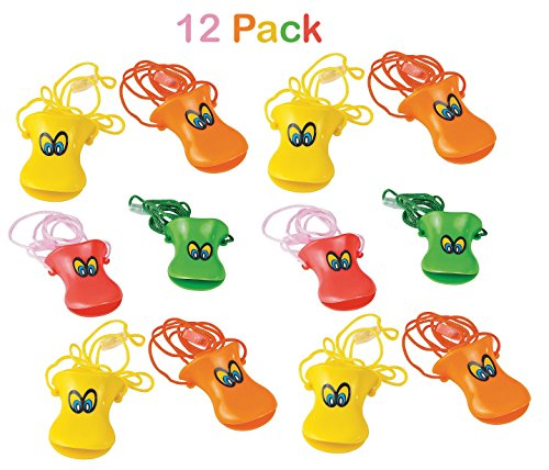 Kicko Pack of 12 Plastic Duck Beak Whistles with Nylon Cord - 3 Inch Whistle - 26 Inch Cord - Assorted Colors - Whistle Noise Makers Necklaces - for Kids, -