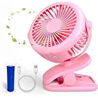 Clip Fan 3 Speeds Two Way Rotated 360 Degree USB Rechargeable Fan 2000 mAh Battery Operated Fan, Personal Table Fan, Quiet Electric Fan for Baby Stroller, Office Room, Home, Travel, Outdoor (Pink)