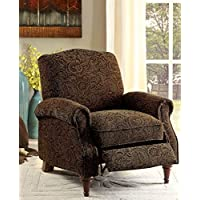 Furniture of America Linen-like Fabric Paulette Push Back Chair, Brown Pattern
