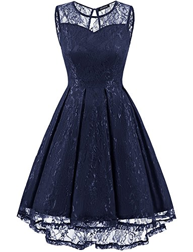 OWIN Women's Vintage Lace High Low Swing Party Gown Bridesmaid Dress