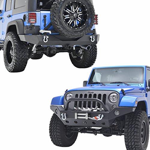 E-Autogrilles JK Jeep Wrangler Complete Bumper Combo Kit - Front & Rear & Tire Carrier