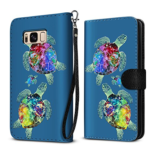 Sea Turtle Cover - FINCIBO Galaxy S8 Case, Ultra Slim Protective Flip Canvas Wallet Pouch Case Credit Card Holder TPU Cover For Samsung Galaxy S8 G950 5.8 inch - Sea Turtles Family