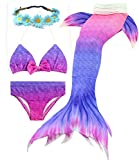 Camlinbo 3PCS Girls' Swimsuit Mermaid Tail for Swimming Tropical Bikini Masquerade Pool Party (Child XX-Large/10-12/Tag 150, B Violet)