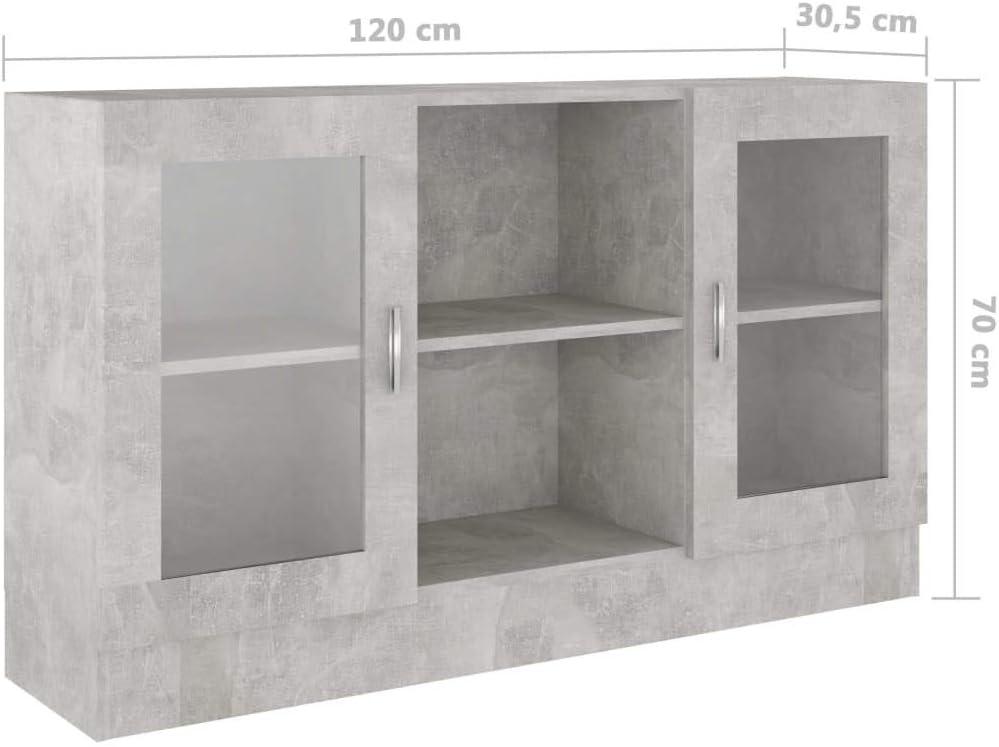 vidaXL Armadietto con Vetrina Grigio Cemento 120x30,5x70 cm Truciolato
