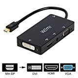 WEme 4-in-1 Mini DisplayPort (Compatible Thunderbolt) to HDMI/DVI/VGA Adapter Cable with Audio Output, Male to Female Converter for Apple MacBook Air Pro, Microsoft Surface Pro, Surface Book, Black