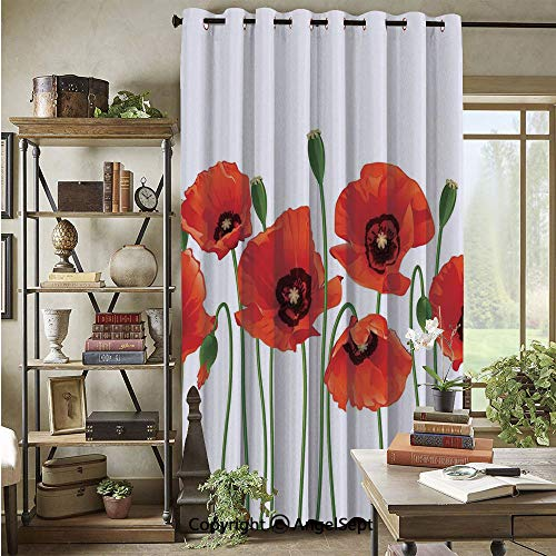 Wide Window Curtain,Poppies of Spring Season Pastoral Flowers Botany Bouquet Field Nature Theme Art,72x96inch,Noise Reduction,Heat Insulation,Red and Green