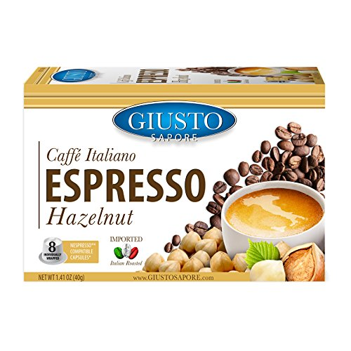 - Giusto Sapore Caffe Italiano Espresso Italian Roasted Hazelnut Coffee - 8 Nespresso Compatible Capsules - Premium Superior Quality Gourmet Brand - Family Owned