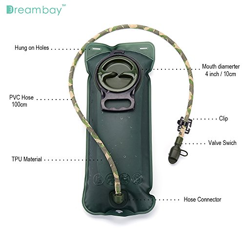DreamBay-Hydration-Bladder-85-oz-25-Liter-with-Clips-to-Hold-Drinking-Tube-Tube-protection-bandage-Suitable-for-All-kinds-of-Hydration-Pack-Water-Storage-Bladder-Bag-with-Drinking-Tube-Trap