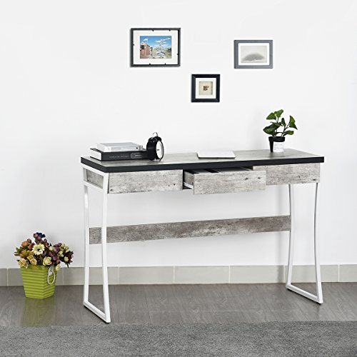 Homy Casa Industrial Style Writing Table Desk, Office Desk with Drawers, Dressing Table, TV Table