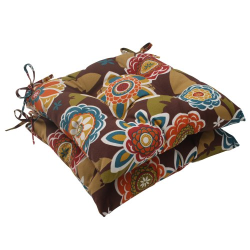 Pillow Perfect Outdoor Annie Tufted Seat Cushion, Chocolate, Set of 2 (Chair 15 X Outdoor Cushions 15)
