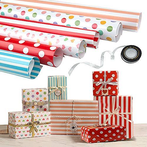 Baby Shower D/ía De Fiesta Comius Sharp 6 Hojas Envoltura Colorido 1 + 2 Rollo de Cinta de Organza Dorado Para Cumplea/ños Doblados Papel Para Envolver Regalos Boda