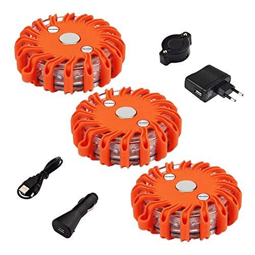 FLOWTRIC Oplaadbare waarschuwingslichten, per ongeluk noodlicht oplichtend oranjekleurige fakkel 9 flitsmodi…