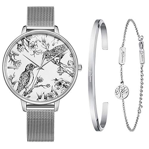 - Kaifanxi Women's Quartz Wristwatch Elegant Bird Dial Design with Flowers Gift Bracelet for Ladies Sapphire Crystal Glass and Classic Stainless Steel Band (Silver)