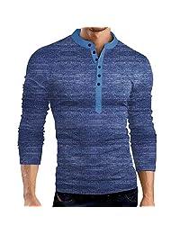 EWINGWORLD Men Cotton Slim Solid Henley T-Shirt Polo Short Sleeve Button Placket Neck