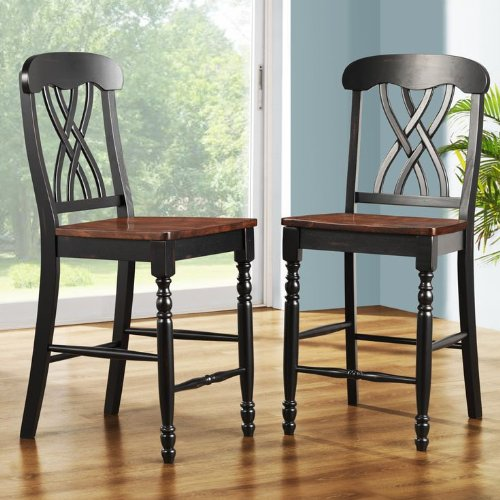 TRIBECCA HOME Mackenzie 24-Inch Black Counter Height Stool (Set of 2) For Sale