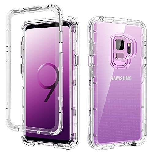 (DUEDUE S9 Case Clear,Galaxy S9 Case, 3 in 1 Shockproof Drop Protection Heavy Duty Hybrid Hard PC Cover Transparent TPU Bumper Full Body Protective Clear Case for Samsung Galaxy S9, Clear)