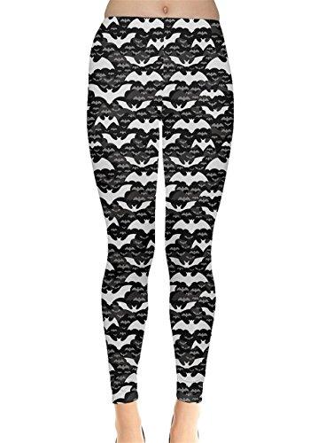 CowCow Womens Black Halloween Pattern Leggings, Black - L (Woman Halloween)