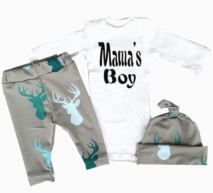 bebé recién nacido mamelucos muchacho de la muchacha vestir de las tapas ciervo brama sombrero fijaron el equipo: Amazon.es: Bebé
