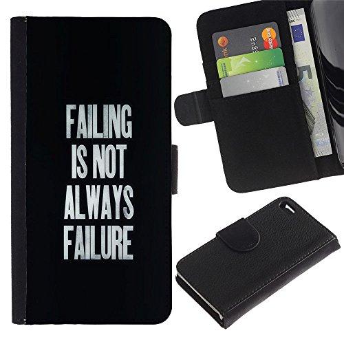 MobileMart / Apple Iphone 4 / 4S / failing success inspirational text black / Cuir PU Portefeuille Coverture Shell Armure Coque Coq Cas Etui Housse Case Cover Wallet Credit Card