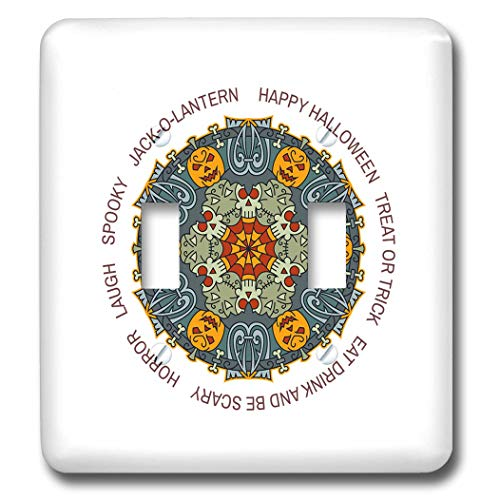 3dRose Alexis Design - Mandala Seasons Holidays Text - Happy Halloween elegant colorful mandala, text. Funny gift - Light Switch Covers - double toggle switch (lsp_300044_2)