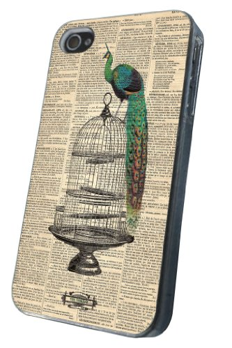 iphone 4 4S Hülle Shabby Chic Vintage Newspaper Peacock Fashion Trend Design Case Back Cover Metall und Kunststoff-Löschen Frame