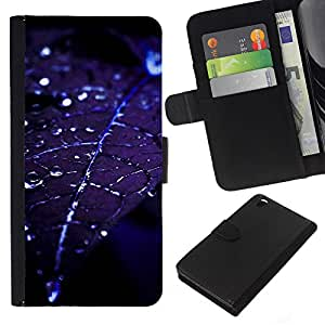 KingStore / Leather Etui en cuir / HTC DESIRE 816 / Hoja gotitas de agua Blue Night Moonlight