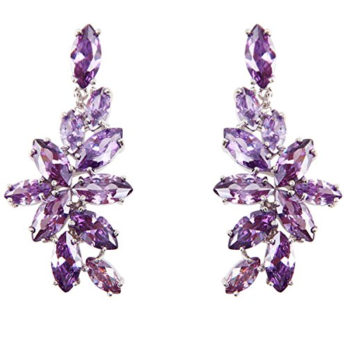FC Chandelier Dangle Drop CZ Bridal Purple Flower Crystal Earrings