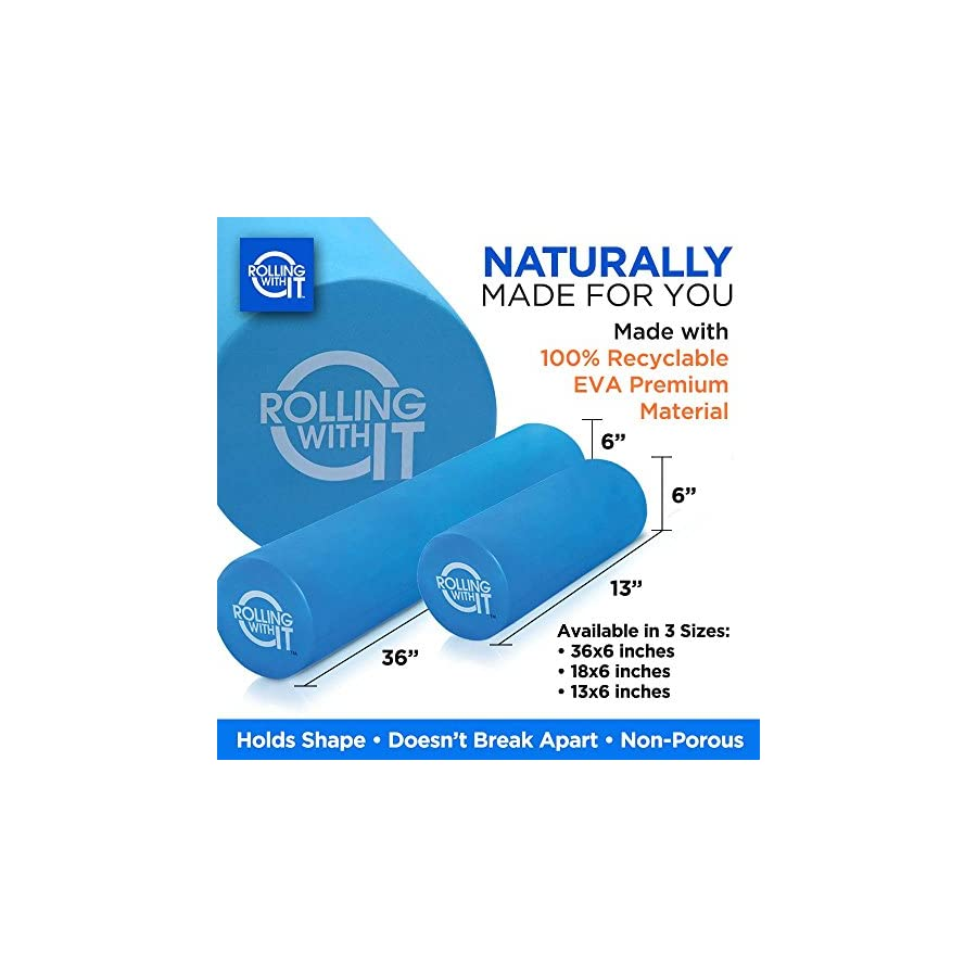 Professional Grade Premium EVA Foam Roller Pain Relief For Tight Muscles, Best Firm High Density Foam Rollers For Exercise, Look Better Feel Younger With Eco Friendly Back Roller SELECT SIZE BELOW