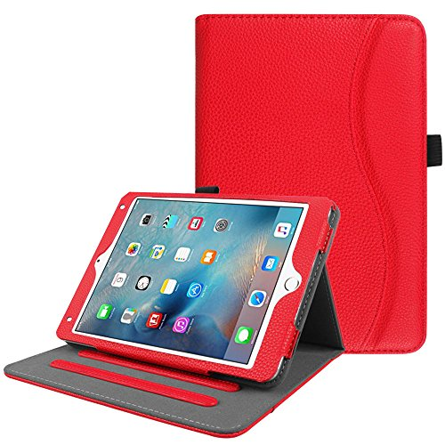 Fintie iPad Mini 4 Case [Corner Protection] - [Multi-Angle Viewing] Folio Smart Stand Protective Cover with Pocket, Supports Auto Wake/Sleep for Apple iPad Mini 4 (2015 Release), Red