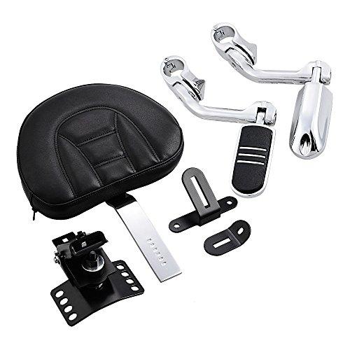 (Black Adjustable Driver Rider Backrest + 2X Chrome 1.25