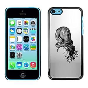 Caucho caso de Shell duro de la cubierta de accesorios de protección BY RAYDREAMMM - Apple iPhone 5C - Girl Black White Drawing Minimalist