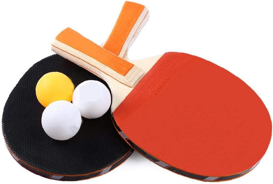 Anti Slip Mango Largo Mesa de Ping Pong Raqueta Durable Pingpong Bat portátil 2 y 3 Batea Las Bolas de Ping-Pong Duradero Conjunto de paletas de Accesorios Deportes-1 Juego